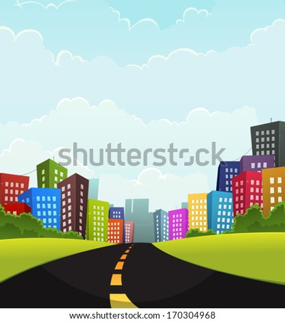 Summer Or Spring Town/ Illustration of a cartoon road going to town with fancy buildings - stock vector