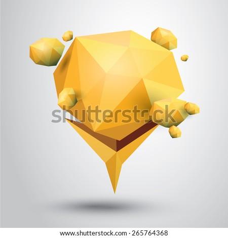 summer orange Conceptual polygonal geometric speech bubble. - stock vector