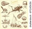 summer-original hand drawn set - stock vector