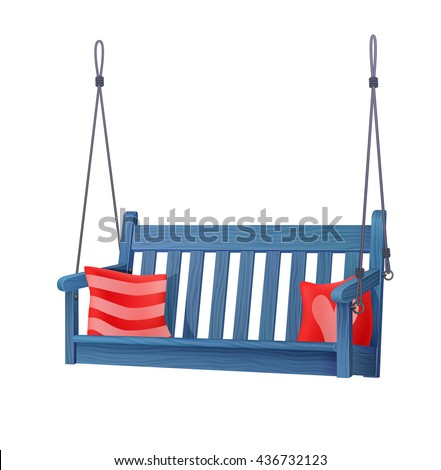 summer outdoor wooden blue porch swing bench with red pillows. vector illustration