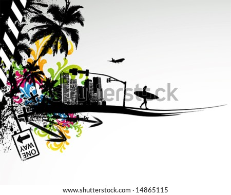 Summer Palm City Vector Illustration - stock vector