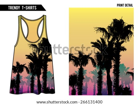 Summer palm tree print with vest top shape in vector. - stock vector