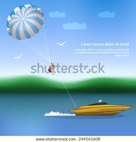 Summer parachuting over river with boat. Summer vocation. Extrim sport. - stock vector