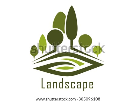 Summer park abstract icon with shady alleys, trimmed trees and kidney shaped lawn, for nature or landscape design  - stock vector