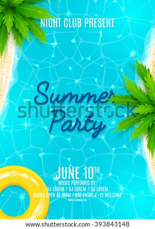 Summer party flyer. Beautiful background on the sea topic with sea shore, sea water and palm trees. Vector illustration. - stock vector