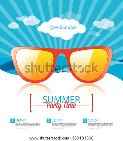 Summer Party Flyer Template - Summer Party Background - stock vector