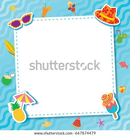 Summer Party Template Frame Decorated Ice Stock Photo (Photo, Vector ...