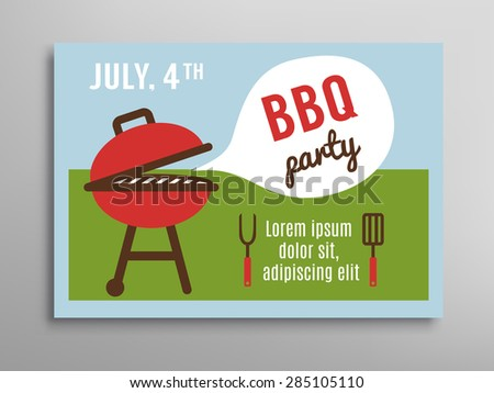Summer party invitation BBQ picnic. Brochure template. 4th of july. Vector illustration.