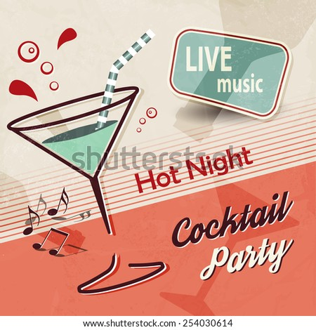 Summer party invitation with cocktail glass and music notes - retro poster design - stock vector