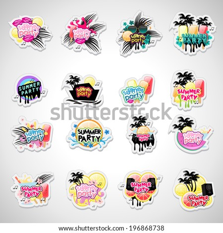 Summer Party Labels And Elements Set - Isolated On Gray Background - Vector Illustration, Graphic Design Editable For Your Design