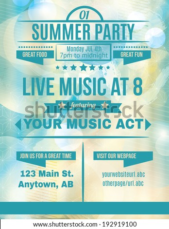 Summer party live music flyer template - stock vector