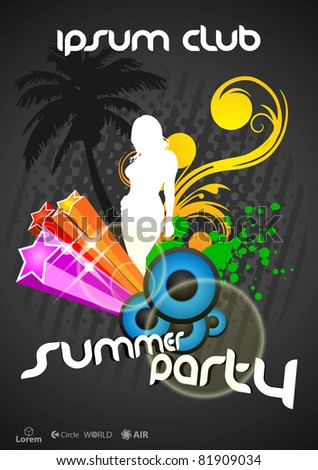 summer party poster - stock vector
