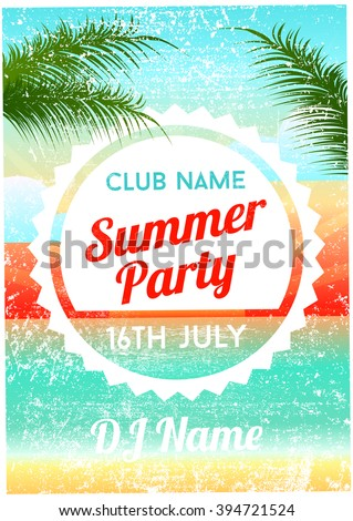 Summer Party Poster Flyer Template - stock vector