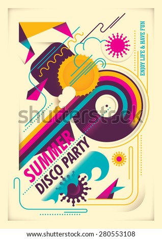 Summer party poster with abstraction. Vector illustration. - stock vector