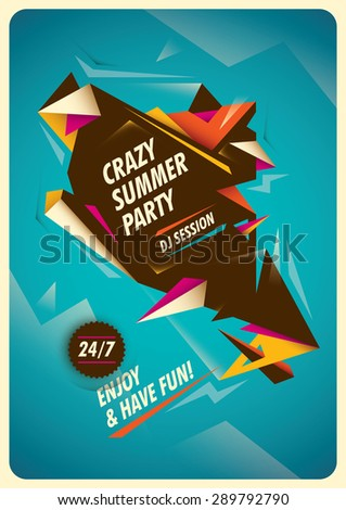 Summer party poster with colorful abstraction. Vector illustration. - stock vector