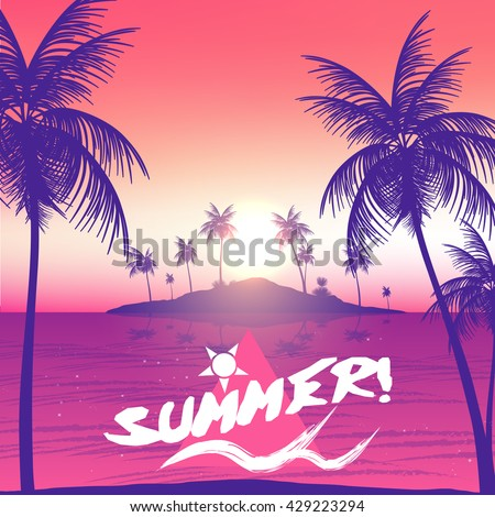 Summer Party Poster with Tropical Island and Palm Trees - Vector Illustration