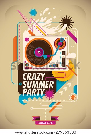 Summer party poster with turntable. Vector illustration. - stock vector