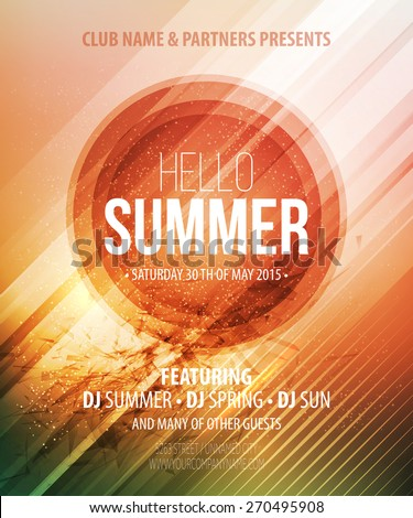 Summer party. Template poster. Vector illustration  - stock vector