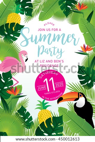 summer party tropical invitation card template vector/illustrator