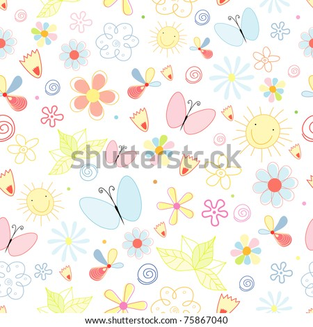 summer pattern of flowers and butterflies - stock vector