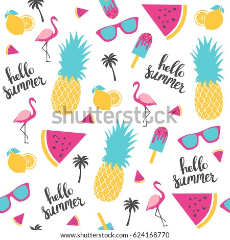 Summer pattern. Watermelon, pineapple, lemon. Vector illustration