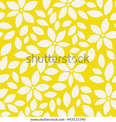 Summer pattern with abstract flower silhouettes and leaves. Seamless floral background.  - stock vector