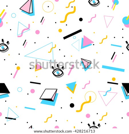 Summer Pattern With Geometric Shapes And Eyes. Stylish And Trendy Fabric.  Modern Abstract Wallpaper