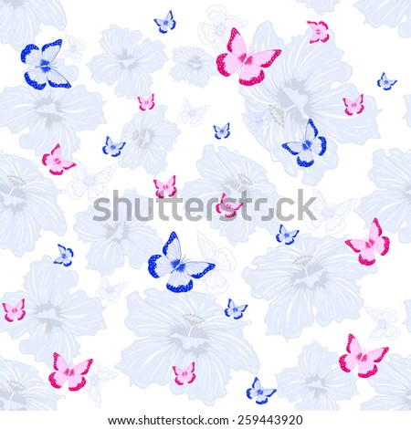summer pattern with pink and blue  butterfly on white and flowers background - stock vector