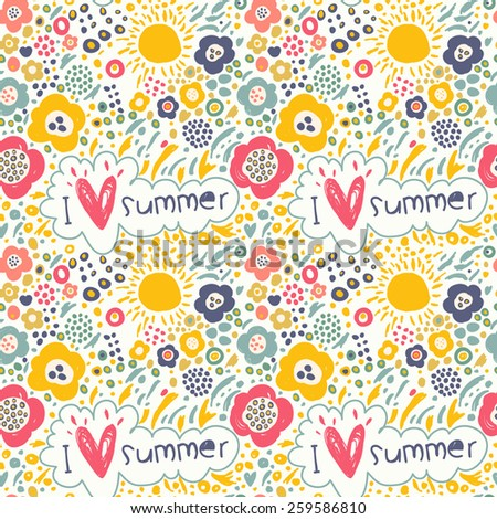 Summer pattern with sun, flowers, labels. Romantic concept background with a lot of colorful flowers. Seamless pattern can be used for wallpaper, pattern fills, web page, surface textures.