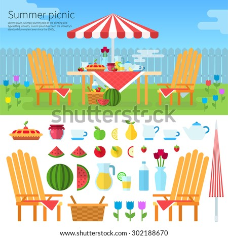 Summer picnic in garden with flowers: umbrella, chairs, basket with food, fruits, cake. Illustration, icon set flat design of picnic items. For web banners promotional materials presentation templates - stock vector