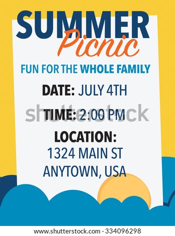 Summer picnic invitation with date, time and location - stock vector