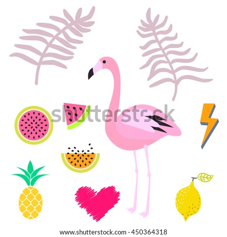 Summer pink flamingo clipart icon set. Palm leaevs, watermelon, pineapple fruits. Vector illustration for stickers and cards. - stock vector
