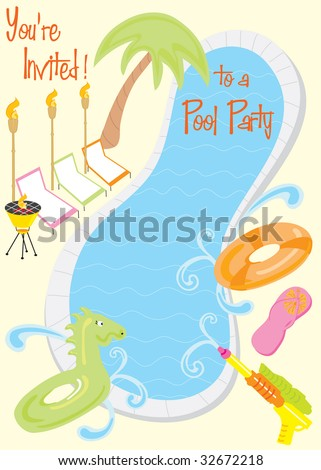 pool party invitation stock photos, royaltyfree images  vectors, Party invitations
