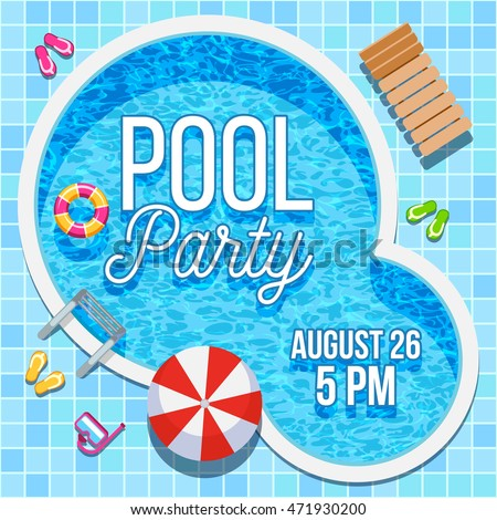 Summer pool party invitation with nobody water swimming pool vector background