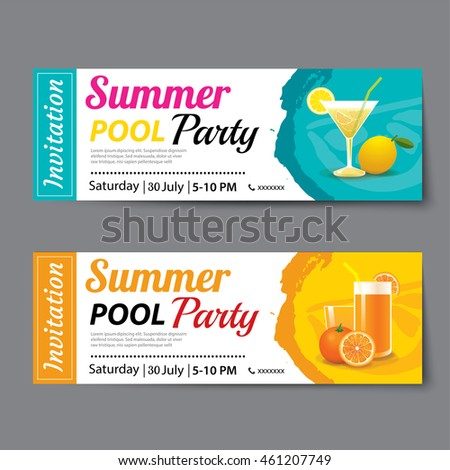 Summer pool party ticket template stock vector 461207749 for Club piscine flyer