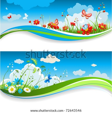 Summer positive banners - stock vector