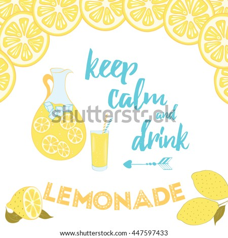 Summer Positive Sayings. Keep Calm And Drink Lemonade. Motivational Quote  Decorated Hand Drawn Lemons