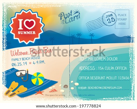 Summer postcard vector background - stock vector