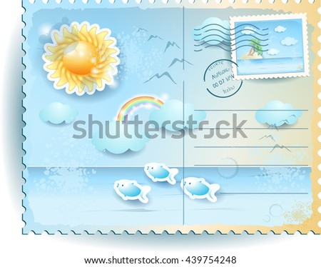 Summer postcard with sun and sea, in vintage style. Vector illustration  - stock vector