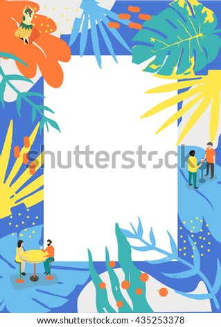 Summer poster for music event and for summer menu. Tropical abstract drawing with empty place for your text.
