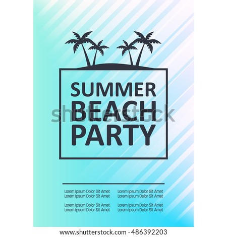 Summer poster illustration. Summer party, Beach party