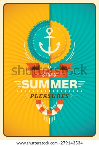 Summer poster in color. Vector illustration. - stock vector
