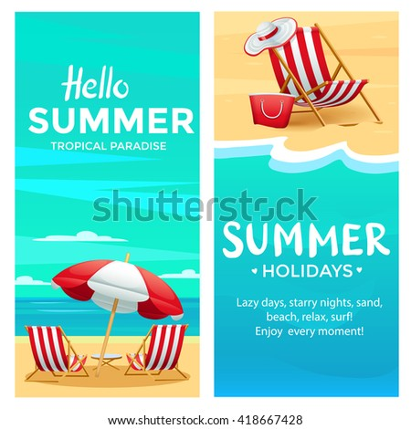Summer poster template with beach chair, umbrella, ocean and sand, realistic detailed vector illustration - stock vector