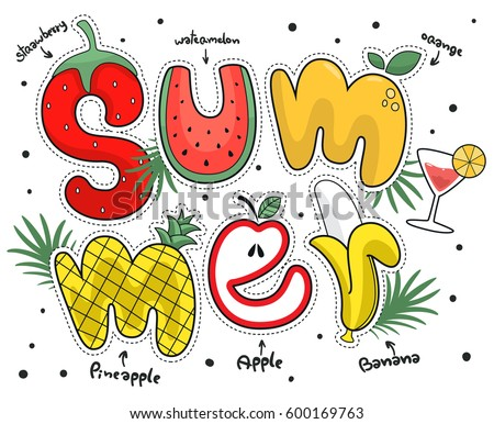 Summer poster with fruit alphabet isolated on white background illustration vector.