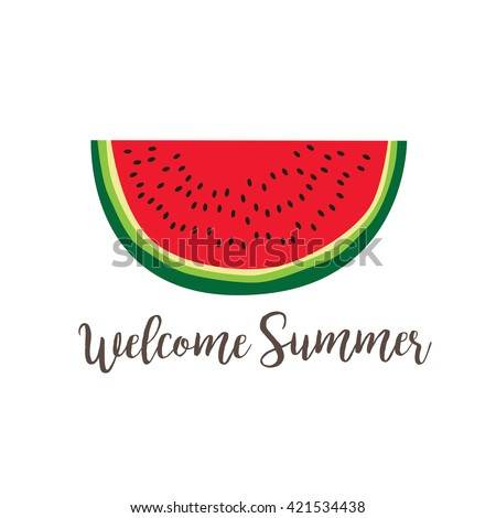 Summer poster with watermelon slice - stock vector