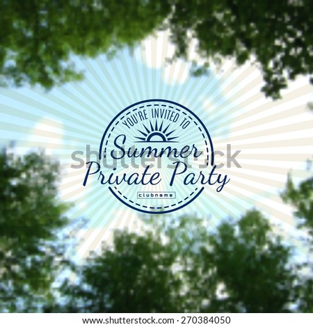 Summer private party on blurred background sky EPS10 - stock vector