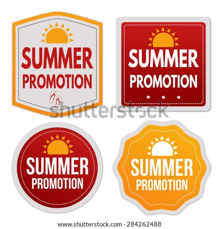 Summer promotion stickers set on white background, vector illustration