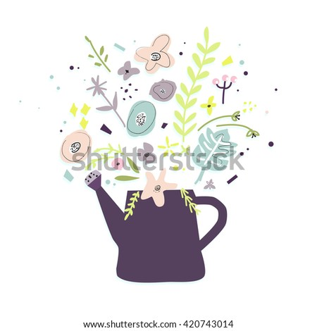 Summer purple watering can with a bouquet of wildflowers. Cute gardening background.