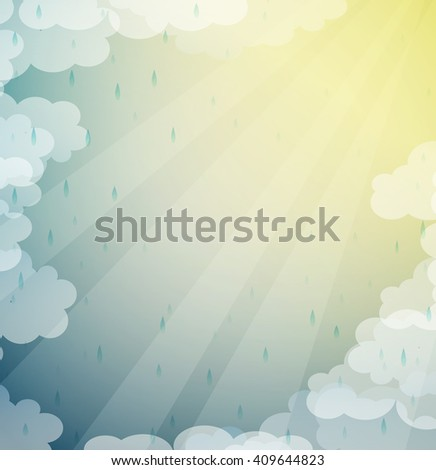 summer rain and sun beams, clouds and sun backgrounds, vector