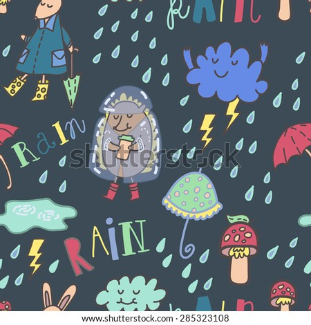 """Summer rain seamless vector pattern with cute hedgehog, funny rabbit, mushrooms, umbrella's, cool clouds, raindrops and hand drawn lettering """"Rain"""" - stock vector"""